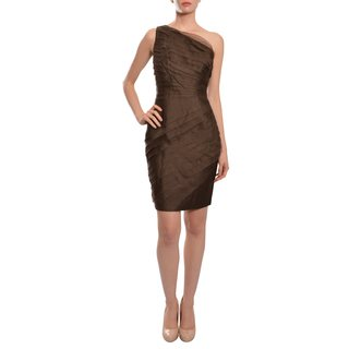 Carmen Marc Valvo Silk Organza Tailored Modern Silhouette Tier Eve Dress