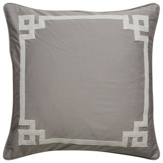 Tribal Pattern Gray/Ivory Cotton Blend Feather Filled Throw Pillow 20-inch