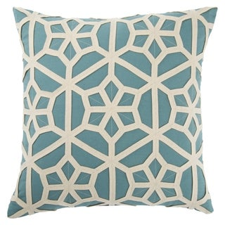 Tribal Pattern Blue/Taupe Cotton and Wool Throw Pillow 22-inch