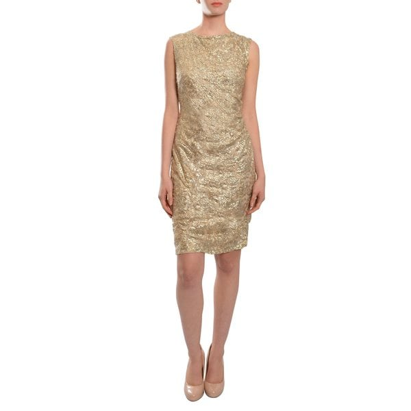 David Meister Stunning Gold Distinctive Cutout Jacquard Sheath Eve Dress