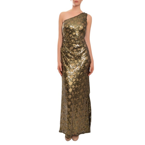 David Meister Alluring Gold One shoulder Long Asymmetric Evening Gown