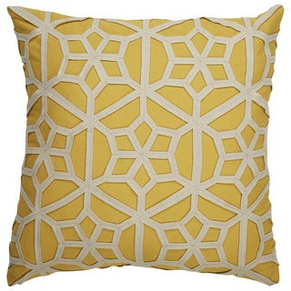 Tribal Pattern Yellow/Taupe Cotton & Wool Feather Filled Throw Pillow 22-inch