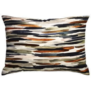 Tribal Pattern Ivory/Orange Cotton Blend Feather Filled Throw Pillow (14 x 20-inch)