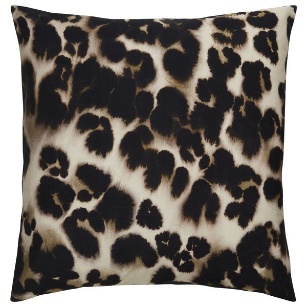 Tribal Pattern Ivory/Black Cotton Throw Pillow 20-inch