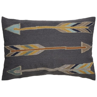 Tribal Pattern Gray/Yellow Wool and Cotton Feather Filled Throw Pillow (16 x 24-inch)