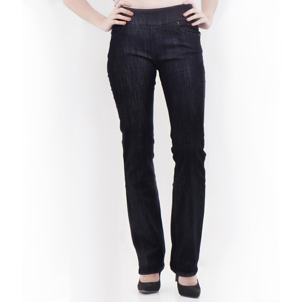 Women's Blue Black Wash Straight Leg Denim