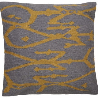Tribal Pattern Ivory/Yellow Wool and Cotton Feather Filled Throw Pillow 20-inch