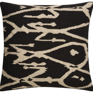 Tribal Pattern Gray/Ivory Wool and Cotton Throw Pillow 20-inch