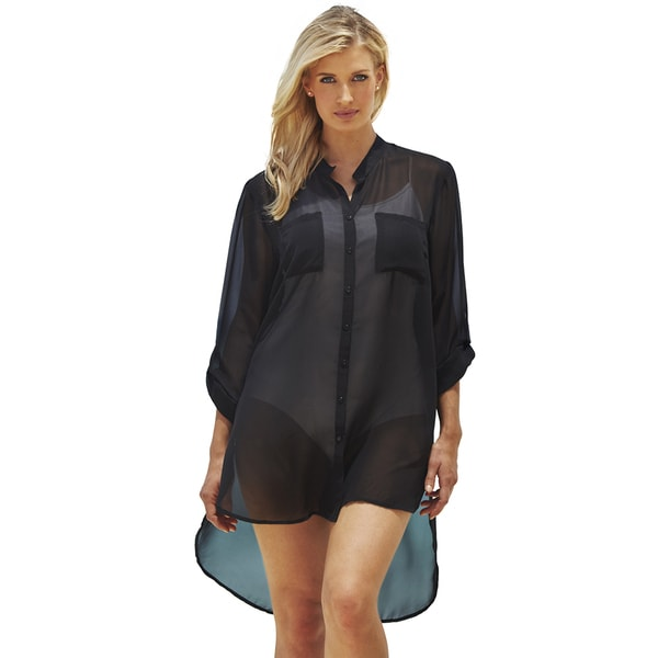 Black High-Low Beach Shirt