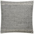 Tribal Pattern Ivory/Black Viscose and Wool Feather Filled  Throw Pillow  18-inch