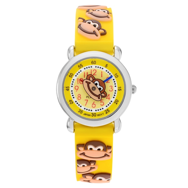 Geneva Platinum Kid's Monkey Design Silicone Strap Watch