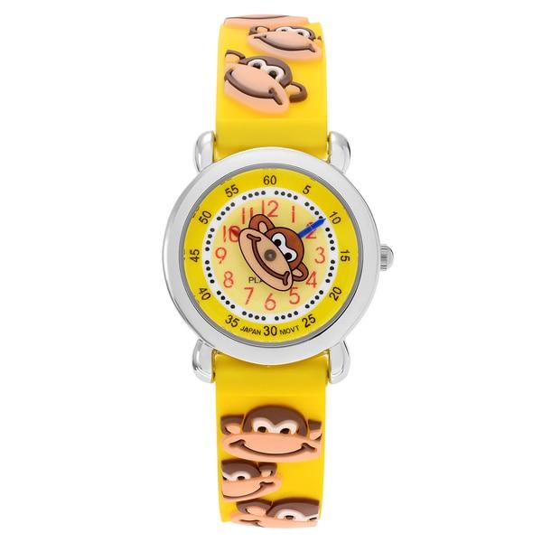 Geneva Platinum Kid's Monkey Design Silicone Strap Watch