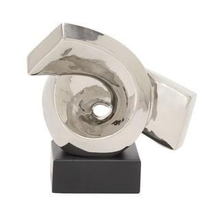 Silver Ceramic Wood 10-inch Sculpture