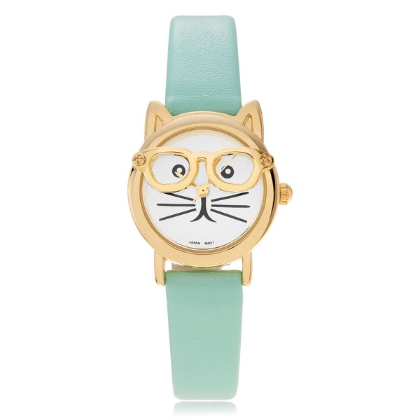 Geneva Platinum Women's Cat Face Leather Strap Watch 17265116