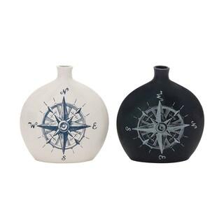 Black/ White Assorted Ceramic 9-inch Vases (Set of 2)