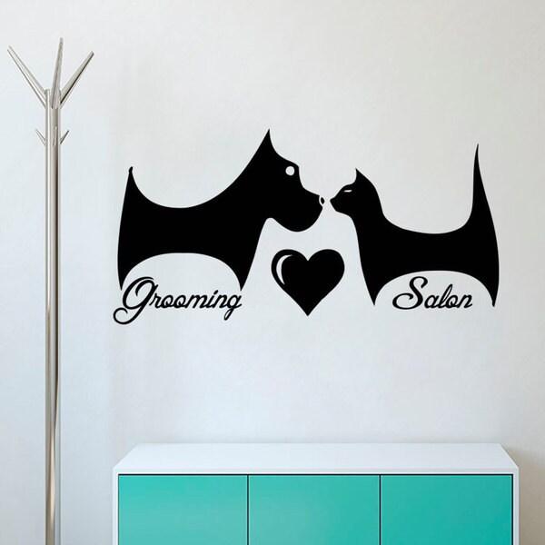 DogA Heart Cat Wall Art Decal Sticker