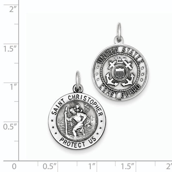 Sterling Silver St.Christopher US Coast Guard Medal
