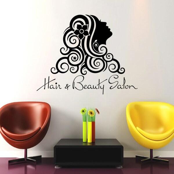 Wall Decal Fashion Beauty Salon Face Girl Woman Long Hair Design Vinyl Decals Wedding Hair 17265285