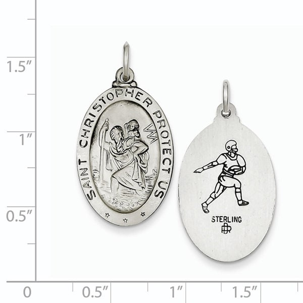 Sterling Silver St.Christopher Football Medal