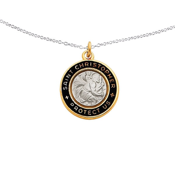 18k Gold over Silver Epoxy St. Christopher Charm