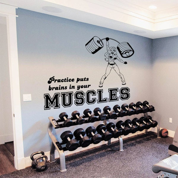 Sports Girl Muscles Wall Art Decal Sticker