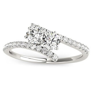14k White Gold 1/2ct TDW Diamond Two-stone 'My Best Friend' Ring
