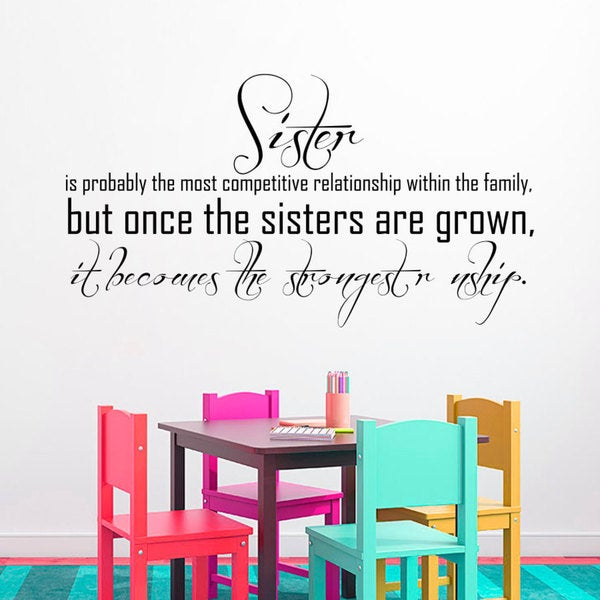 Quote Family Sisters Wall Art Decal Sticker
