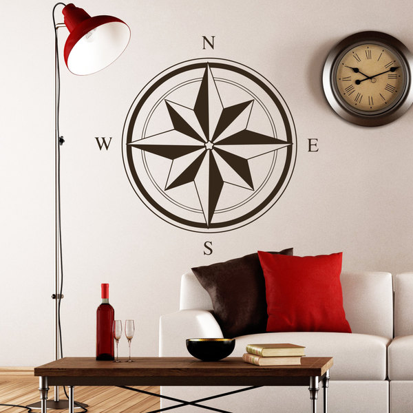 Compass South West East Star Wall Art Sticker Decal Brown