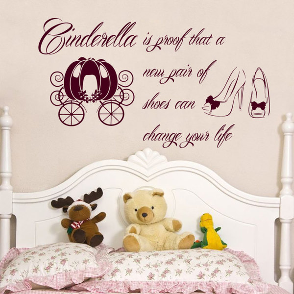 Cinderella Is Proof That A New Pair Of Shoes Can Change Your Life Quotes Wall Art Sticker Decal Red
