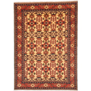 ecarpetgallery Finest Kargahi Yellow Wool Rug (6'11 x 9'8)