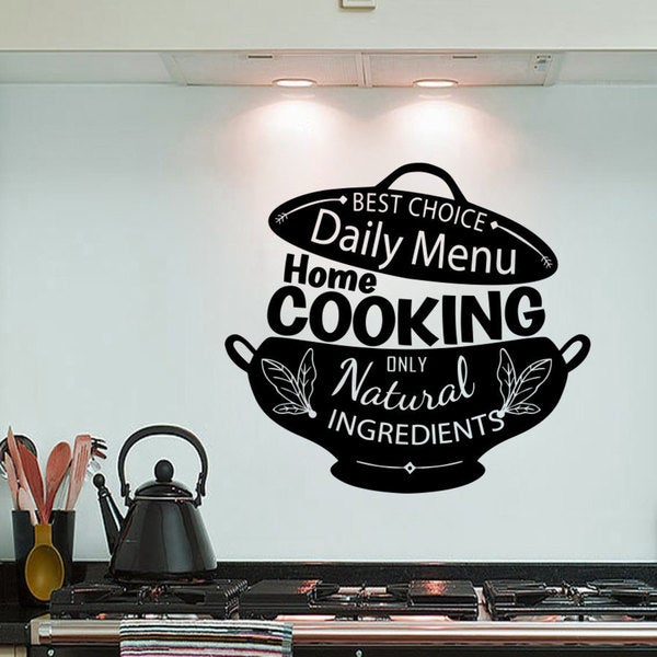 Quotes Home Cooking Only Natural Ingredients Wall Art Sticker Decal