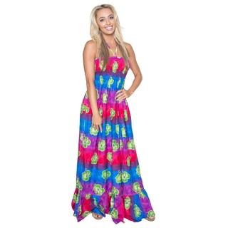 La Leela Women's Hibiscus Printed Backless Likre Maxi Dress