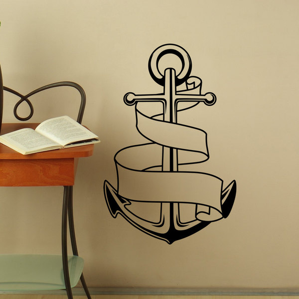 Anchor With Tape Wall Art Sticker Decal