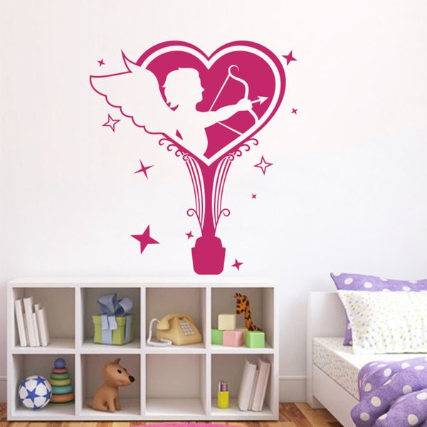 Romance Cupid Angels Love Wall Art Sticker Decal Pink