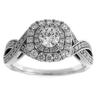 14k White Gold 7/8ct TDW Diamond Round Double Halo Engagement Ring (G-H, SI2-I1)