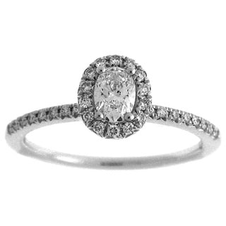 14k White Gold 1/2ct TDW Diamond Oval Halo Engagement Ring (G-H, SI2-I1)