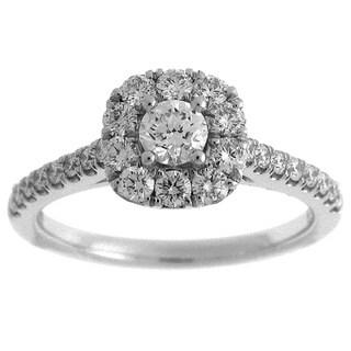 14k White Gold 7/8ct TDW Diamond Round Halo Engagement Ring (G-H, SI2-I1)