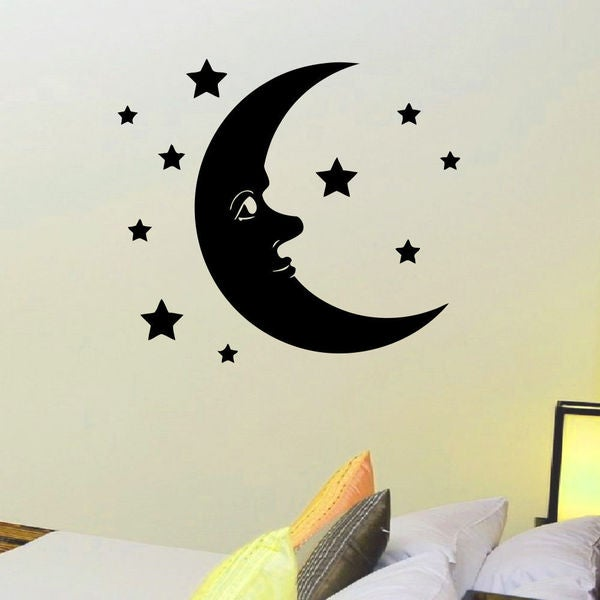 Moon and Stars Sleep Wall Art Sticker Decal