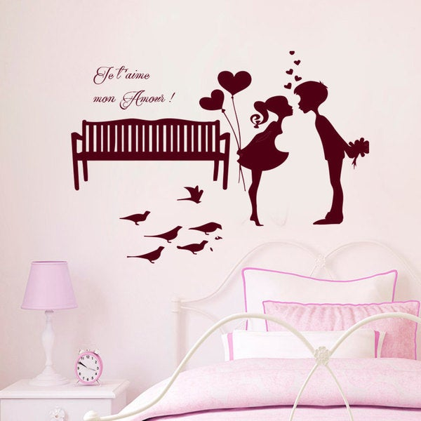The boy with the girl Kiss Wall Art Sticker Decal Red