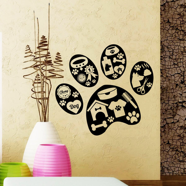 Pets Grooming Wall Decals Paw Grooming Salon Decal Vinyl Stickers Pet Shop Art Mural