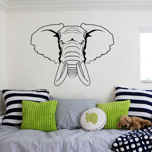 Wall Decals Elephant Wild Mammoth Tusks Horns Wall Decal Animals Design Home Decor
