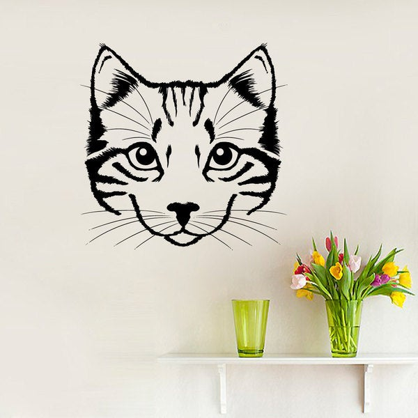 Wall Decal Portrait of Cat Pet Animal Design Interior Wall Decals Bedroom Pets Home Decor
