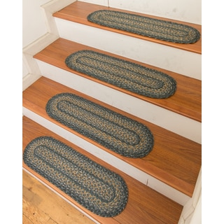 """Hand Braided Florence Jute Stair Treads 9"""" x 29"""" (Set of 13)"""