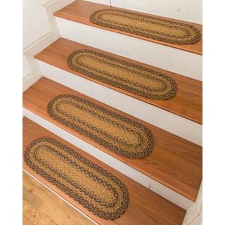 "Hand Braided Frisco Jute Stair Treads 9"" x 29"" (Set of 13)"
