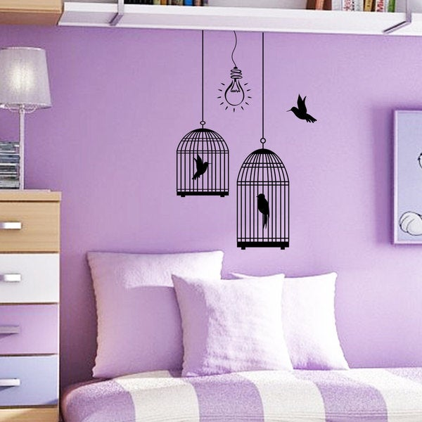 lightbulb Birdcage Wall Art Sticker Decal