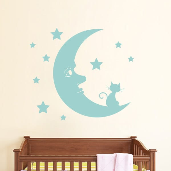 Moon Nigh tCat Wall Art Sticker Decal Blue