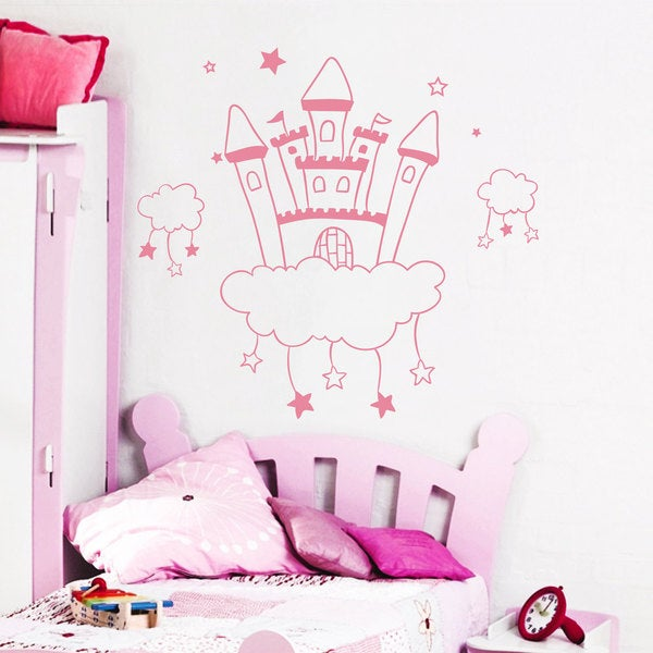 Fairytale Castle Wall Art Sticker Decal Pink