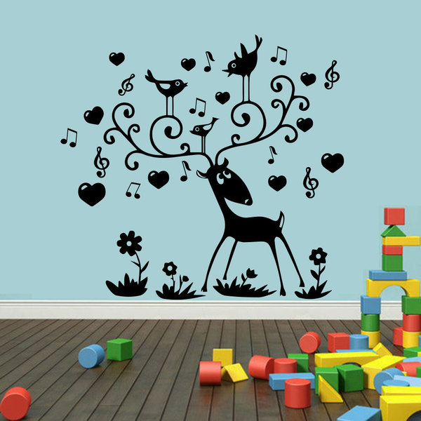 Deer Bird Sheet Music Wall Art Sticker Decal