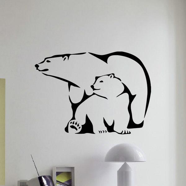 Polar Bear and Cub Wall Art Sticker Decal
