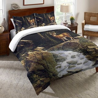 Deer Above the Falls Duvet Cover
